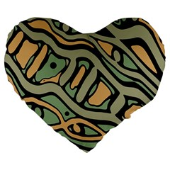 Green abstract art Large 19  Premium Flano Heart Shape Cushions