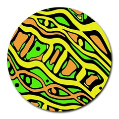 Yellow, green and oragne abstract art Round Mousepads