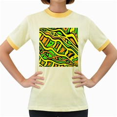 Yellow, green and oragne abstract art Women s Fitted Ringer T-Shirts