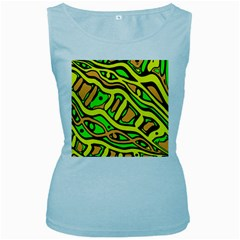 Yellow, green and oragne abstract art Women s Baby Blue Tank Top