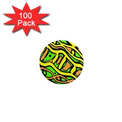 Yellow, green and oragne abstract art 1  Mini Magnets (100 pack)