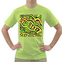 Yellow, green and oragne abstract art Green T-Shirt