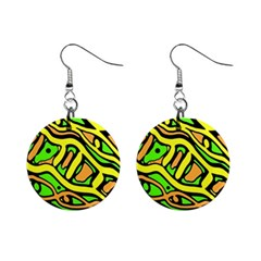 Yellow, green and oragne abstract art Mini Button Earrings