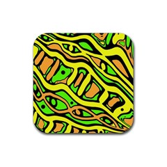 Yellow, green and oragne abstract art Rubber Square Coaster (4 pack)