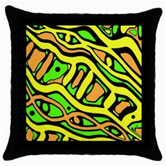 Yellow, green and oragne abstract art Throw Pillow Case (Black)