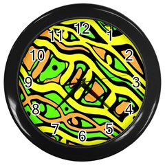 Yellow, green and oragne abstract art Wall Clocks (Black)