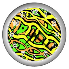 Yellow, green and oragne abstract art Wall Clocks (Silver)