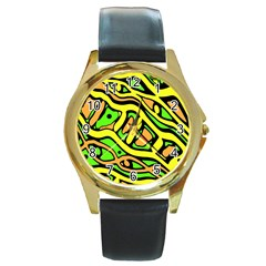 Yellow, green and oragne abstract art Round Gold Metal Watch