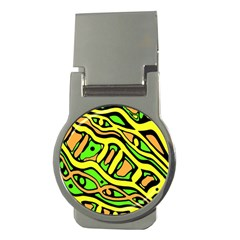 Yellow, green and oragne abstract art Money Clips (Round)