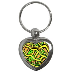 Yellow, green and oragne abstract art Key Chains (Heart)