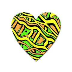 Yellow, green and oragne abstract art Heart Magnet