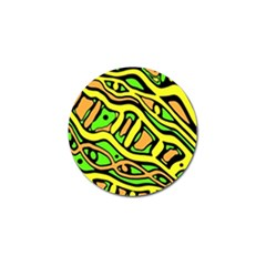 Yellow, green and oragne abstract art Golf Ball Marker
