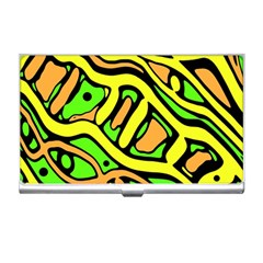 Yellow, green and oragne abstract art Business Card Holders