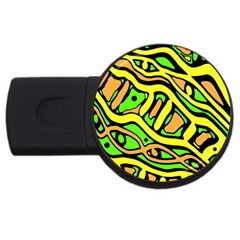 Yellow, green and oragne abstract art USB Flash Drive Round (1 GB)