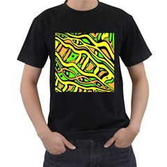 Yellow, green and oragne abstract art Men s T-Shirt (Black) (Two Sided)