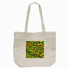 Yellow, green and oragne abstract art Tote Bag (Cream)