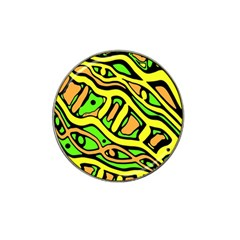 Yellow, green and oragne abstract art Hat Clip Ball Marker