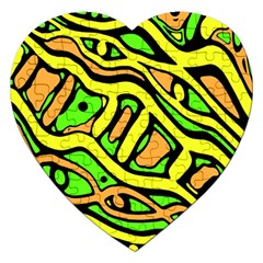 Yellow, green and oragne abstract art Jigsaw Puzzle (Heart)