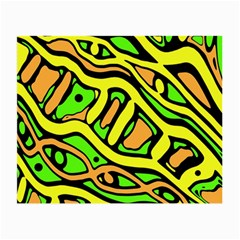 Yellow, green and oragne abstract art Small Glasses Cloth