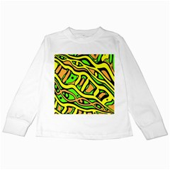 Yellow, green and oragne abstract art Kids Long Sleeve T-Shirts
