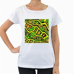 Yellow, green and oragne abstract art Women s Loose-Fit T-Shirt (White)