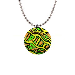 Yellow, green and oragne abstract art Button Necklaces