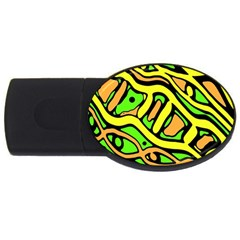 Yellow, green and oragne abstract art USB Flash Drive Oval (4 GB)