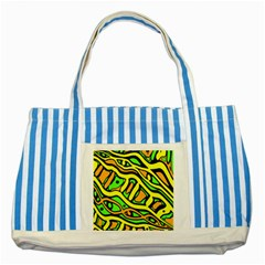 Yellow, green and oragne abstract art Striped Blue Tote Bag