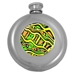 Yellow, green and oragne abstract art Round Hip Flask (5 oz)