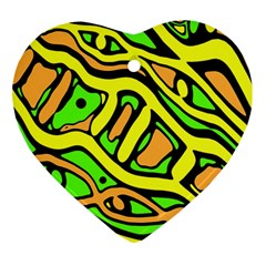 Yellow, green and oragne abstract art Heart Ornament (2 Sides)