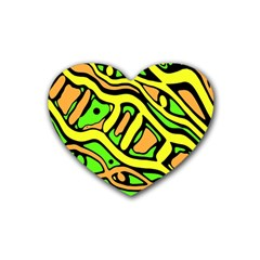 Yellow, green and oragne abstract art Heart Coaster (4 pack)