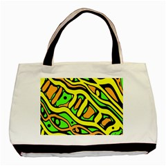 Yellow, green and oragne abstract art Basic Tote Bag (Two Sides)