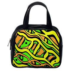 Yellow, green and oragne abstract art Classic Handbags (One Side)