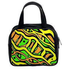 Yellow, green and oragne abstract art Classic Handbags (2 Sides)