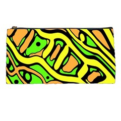 Yellow, green and oragne abstract art Pencil Cases