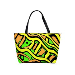 Yellow, green and oragne abstract art Shoulder Handbags