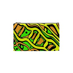 Yellow, green and oragne abstract art Cosmetic Bag (Small)