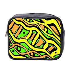 Yellow, green and oragne abstract art Mini Toiletries Bag 2-Side
