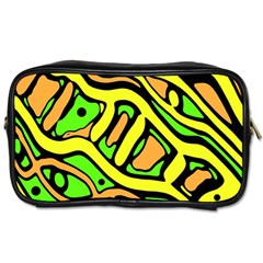 Yellow, green and oragne abstract art Toiletries Bags