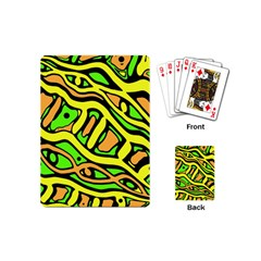 Yellow, green and oragne abstract art Playing Cards (Mini)