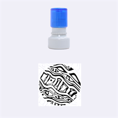 Yellow, green and oragne abstract art Rubber Round Stamps (Small)