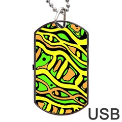 Yellow, green and oragne abstract art Dog Tag USB Flash (Two Sides)