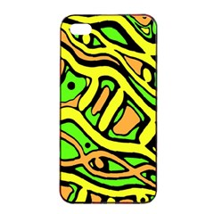 Yellow, green and oragne abstract art Apple iPhone 4/4s Seamless Case (Black)