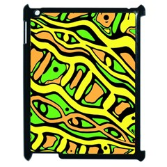 Yellow, green and oragne abstract art Apple iPad 2 Case (Black)
