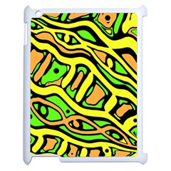 Yellow, green and oragne abstract art Apple iPad 2 Case (White)