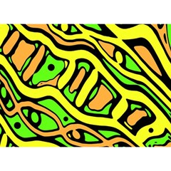 Yellow, green and oragne abstract art Birthday Cake 3D Greeting Card (7x5)