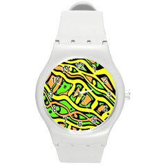 Yellow, green and oragne abstract art Round Plastic Sport Watch (M)