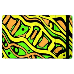 Yellow, green and oragne abstract art Apple iPad 2 Flip Case