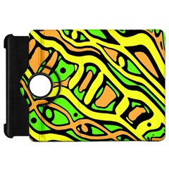 Yellow, green and oragne abstract art Kindle Fire HD Flip 360 Case