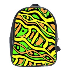 Yellow, green and oragne abstract art School Bags (XL)